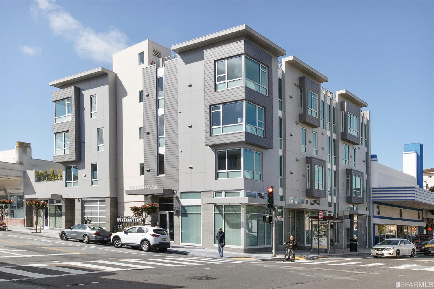 Residence 43 at 1 Stanyan is a brand new light-filled penthouse 2 bedroom, 2 bathroom home with a HUGE private roof top deck with views that span from the Pacific Ocean to Downtown to Golden Gate Park. At the axis of Lone Mountain, Jordan Park, and the Inner Richmond, this recently built boutique condominium building designed by Sternberg Benjamin Architects is a rare gem within striking distance to Golden Gate Park, Laurel Village, and trendy Sacramento St. The home includes a sleek, modern kitchen with high-end appliances and quartz countertops and an open floor plan. Additional features include floor to ceiling windows, in-home washer/dryer, and parking. With just 13 condominiums, the building features a shared courtyard, designer lobby, and elevator. Set just west of USF in Lone Mountain and with a 91 Walk Score, 1 Stanyan St is well situated for commuters, professionals, and outdoor enthusiasts. Photos displayed are of another unit with representative floor plan and finishes.