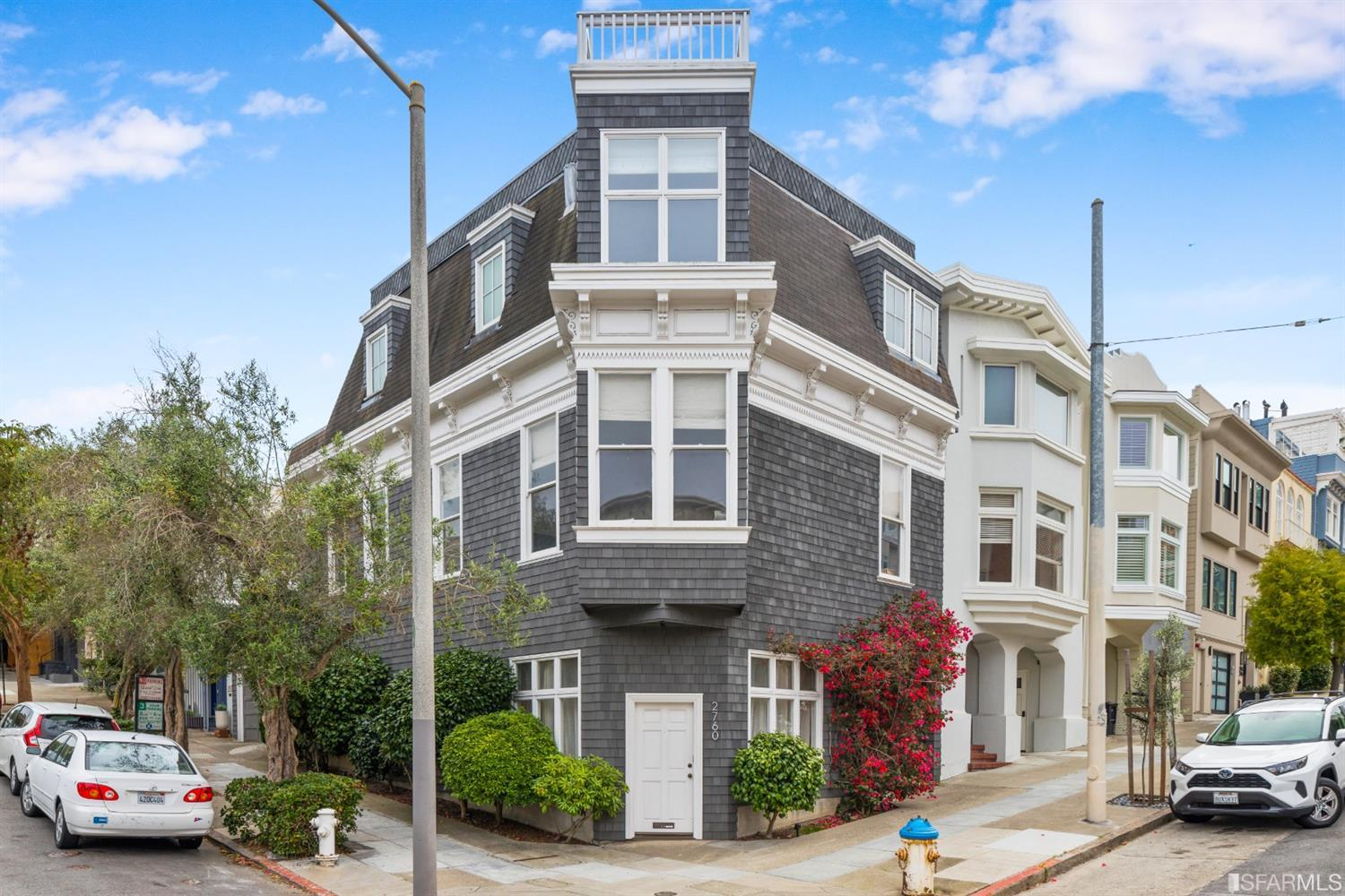This Cow Hollow gem stands out like no other.   The perfect get-away retreat of your very own.  It is ideally located just one block from the Presidio, one from Union St.  If you are a lifestyle buyer, you can end your search.  You cannot help but covet the community's cafes, eclectic eateries, and access to one of the nation's most unique urban greenspaces, but this home is about much more than location. This is a home that visitors won't need an app to find: It's the one on the corner, you'll see the front door''.  The ideal space for an active professional awaits: there's an office, in-unit laundry, comfortable primary suite, and a full, vibrant and modern kitchen. Everything is up-to-date, where it should be, and ready to move right in.